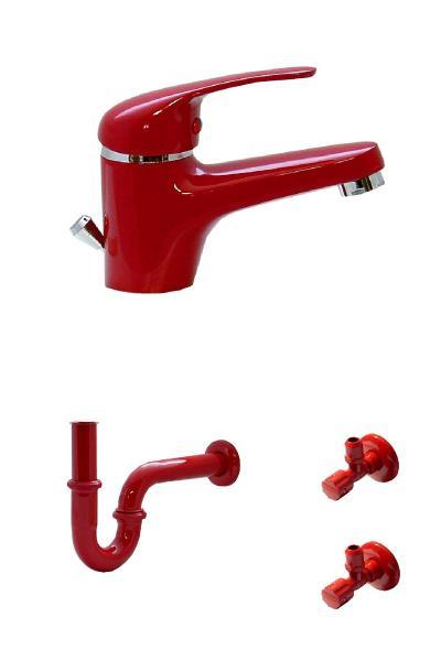 Wagner Waschtischarmatur, Siphon und 2 Eckventile in Rot AS 9