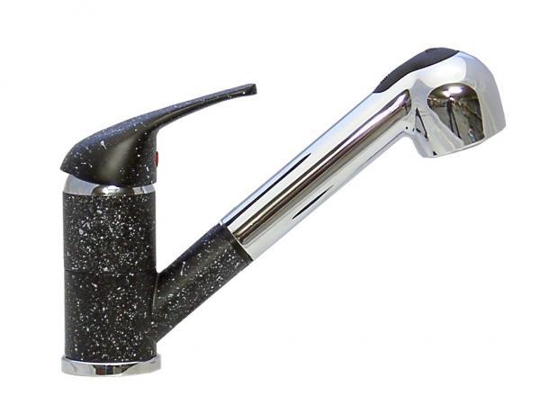 Wagner Einhebel-Küchenarmatur mit Brause schwarz/granit + chrom (Handbrause) Niederdruck KB ND 3